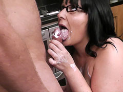 Naughty brunette fattie gets cream all over fat cock and eats it like crazy