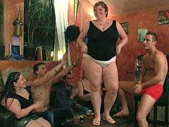 The party gets started as the BBW beauties get naked and suck on some dick in the bar