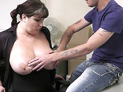Cute young fattie in stockings fucked by her boss for a promise of a bonus