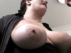 Silly fat brunette sucks and fucks her hung boss for a nice little bonus