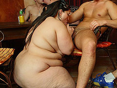 She gets naked and her rolls of body fat look hot as the girl gobbles down a big fat dick meat