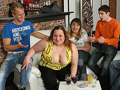 The fatty fucks and sucks at this party while her friends watch and play with their own men