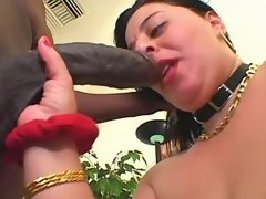 Sexy chubby lady in red enjoys oral