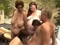 Fat mature gets cum in orgy outdoor
