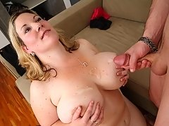 The fatty blows the mechanic and he does her from behind because her pussy is so tight