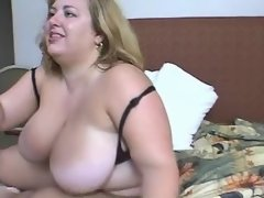 Fatty w huge boobs dildoing n sucks