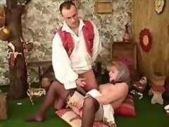 Fat granny gets cum on hairy pussy