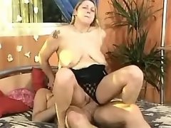 Chubby mature gets cumload on tits