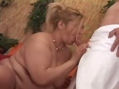 Mature fatty seduces amateur guy
