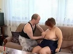 Redhead mature BBW licked by man