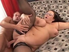 Chubby girl sucks appetizing cock